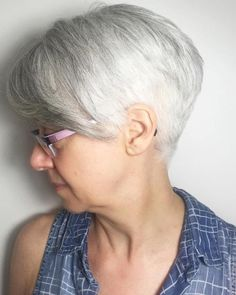 Gray Tapered Pixie With Bangs
