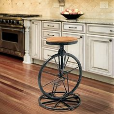 For the bike fan in your life. For a whimsical touch to any room, add the Michaelo Bicycle Wheel Adjustable Barstool. Complete with bicycle petals, wheel, and weathered fir wood seat, the decorative possibilities are endless.