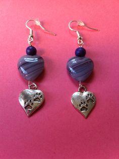 https://www.etsy.com/shop/MoggysMall  #purple, #heart, #earrings, #silver, #charms, #pawprints, #boho, #black, #beads