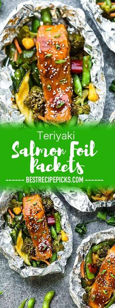 Teriyaki Salmon Foil Packets are a quick and tasty 30 minute meal for summer nights, camping, and cookouts. The flaky salmon and tender vegetables are covered in a sticky sweet and savory Asian-inspired sauce. Best Seafood Recipes, Salmon Recipes, Fish Recipes, Asian Recipes, Healthy Recipes, Barbecue Recipes, Japanese Recipes, Keto Recipes, Bbq