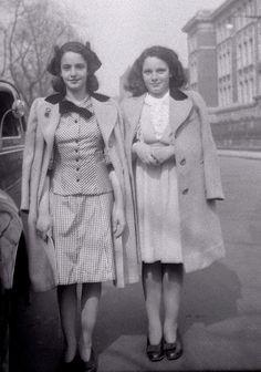 Mom & Aunt Rose 1942 Easter Sunday by Whiskeygonebad, via Flickr