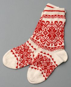 socks red women wool folklore eco friendly by helgihandicraft, $60.00