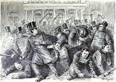 The Police Riot of 1857  New York once had two different -- and competing -- police forces and boy they just did NOT get along. It all came to blows one June day in 1857, with state-sponsored Metropolitan police officers attacking the renegade men of the Municipal police force.