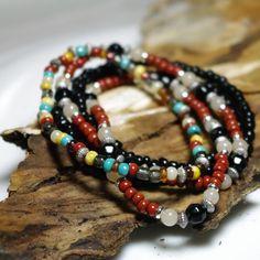 Dark Night - Tribal Beaded Stretch Stacker Bracelets   Angelof2onArtFire - Jewelry on ArtFire