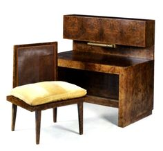 Johannes Itten - DESK AND CHAIR burr walnut veneer, the rectangular desk with an inbuilt drawer to front, the top with a cabinet enclosing pigeon holes and drawers, with reading light; together with a wide side chair with cushion. Bauhaus, Harlem Renaissance, Side Chairs, Dining Chairs, Art Nouveau, Amsterdam School, Walnut Veneer, Art Deco Furniture, Eclectic Style
