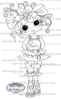 INSTANT DOWNLOAD Digital Digi Stamps Big Eye Big Head Dolls Digi Little Miss Paris By Sherri Baldy