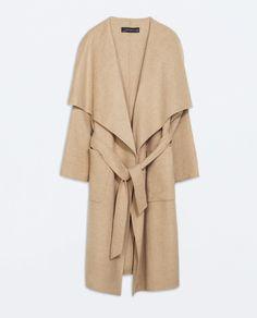 Nude Tall LONG woolen COAT from Zara