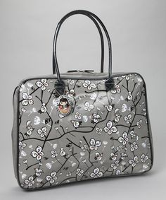 Take a look at this Gray Flower 17'' Laptop Bag by Décodélire on #zulily today!
