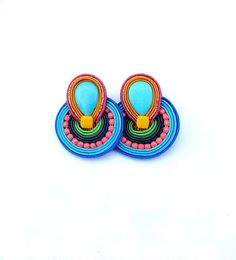 Boho Clip On Earrings, Colorful Soutache Earrings, Handmade Clip On, Hippie Soutache Handmade Jewelry, Clip On Earrings Soutache Earrings, Clip On Earrings, Etsy Earrings, Earrings Handmade, Dangle Earrings, Handmade Jewelry, Craft Jewelry, Yellow Earrings, Turquoise Earrings