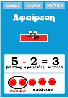 Picture Teaching Math, Maths, Dyscalculia, Greek Language, Teaching Methods, Primary School, Grade 1, Math Activities, Special Education