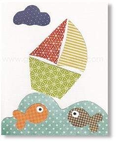 Nursery Decor Boy - baby boy nursery - kids wall art - kids print - kids boat - nursery art - fish - Oh Mon Bateau print from Paris Applique Templates, Applique Patterns, Applique Quilts, Applique Designs, Quilt Patterns, Art Patterns, Baby Applique, Applique Ideas, Diy Nursery Decor