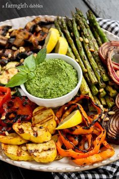 Miso-Butter Grilled Veggies with Basil-Mint Pesto from /farmgirlsdabble/