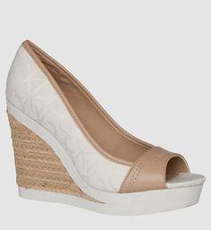 ELECTRA CK LOGO JACQUARD HIGH HEEL | Calvin Klein #heels #calvinklein #women #designer #covetme