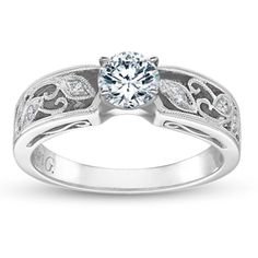 Simon G. Ladies 18K White Gold Diamond Engagement Ring
