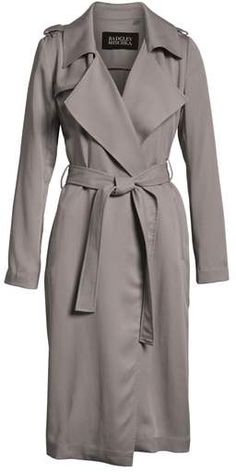 8e903b78055f2 Badgley Mischka Faux Leather Trim Long Trench Coat Trench Coat Outfit