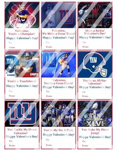 New York Giants Valentines Day Cards Sheet #5 (instant download or printed)