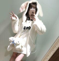 Japanese kawaii bunny ears fleece jacket