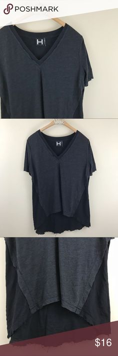 """H by Bordeaux   Raw Cut V-Neck Tee Dark grey on black with mock layering and raw hem and cut. Short sleeve. Hi lo hem. Size small from H by Bordeaux. Bust: 39"""" Length: 24"""" H by Bordeaux Tops Tees - Short Sleeve"""