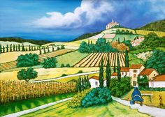 Tuscan Fields  oil on canvas Painting by WilliamCainFineArt, $2500.00 Now Available http://www.etsy.com/shop/WilliamCainFineArt
