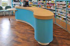 Pharmacy dispensary design and over the counter shelving and storage solutions. Pharmacy Design, Counter Design, Bullshit, Bespoke, Shops, Shelves, Interior, Ideas, Home Decor