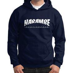 HARAMBE WHITE LOGO Gildan Hoodie (on man)