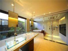 freistehende Badewanne modern stilvoll Flusssteine Deko   4. Bad ...