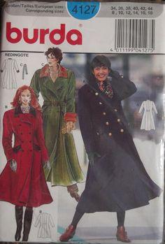 Burda 4127 Women's Coat Mid-knee through Full Length, for guidance for Sherlock coat.