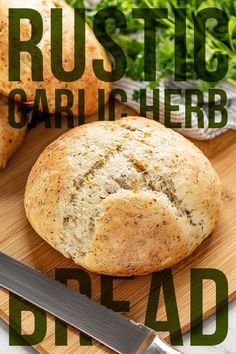 Rustic Garlic Parmesan Herb Bread is a savory artisan style bread that anyone can make. This delicious and fragrant bread is the perfect complement to any meal. # how to make bread Rustic Garlic Parmesan Herb Bread Artisan Bread Recipes, Bread Machine Recipes, Banana Bread Recipes, Garlic Parmesan, Garlic Bread, Style Artisanal, Savory Bread Recipe, Herb Bread, Rosemary Bread