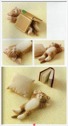 felted kitten w/book draped over it...too cute
