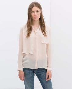 Image 1 of SILK BLOUSE WITH LAYERED FRONT from Zara