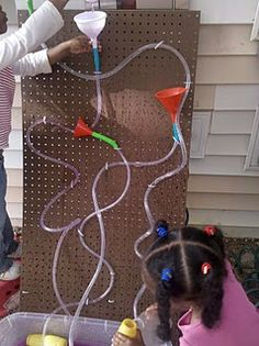 little preschool on the prairie: tube and funnel peg board - A peg board would be cute for lots of stuff! Toddler Activities, Activities For Kids, Outdoor Activities, Outdoor Games, Outdoor Fun, Outdoor Play Spaces, Outdoor Classroom, Classroom Ideas, Classroom Crafts