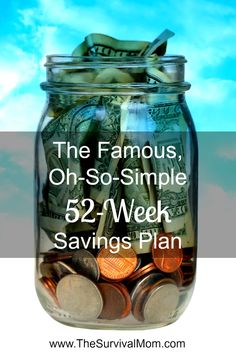 Give this super-easy 52-week savings plan a try! Click for a #printable. #frugal #money | www.TheSurvivalMom.com