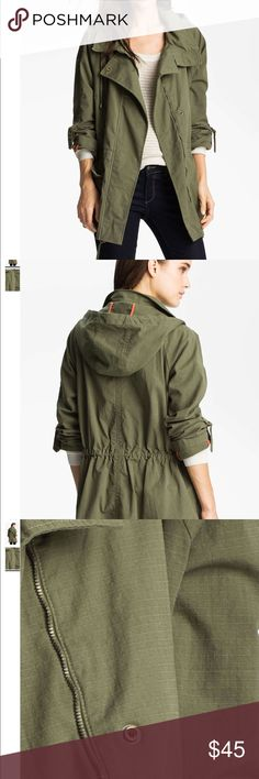 """Willow & Clay anorak military utility jacket SZ XS Utilitarian inspirations abound on a classic military jacket with a comfortable stretch-cotton construction. Tab sleeves, and a drawstring waist and hem, adjust the silhouette from slouchy to fitted and feminine. Zip front with snap closure. Side pockets. Approx. length from shoulder: 30"""".  Used once. In excellent condition Willow & Clay Jackets & Coats Utility Jackets"""