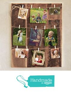 Clothespin photo collage on barn wood from Grindstone Design https://www.amazon.com/dp/B01AZSOI2M/ref=hnd_sw_r_pi_dp_lZ87xbM7M7DCG #handmadeatamazon