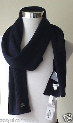 #Lacoste wool navy blue big long scarf NWT (80 inches long ) visit our ebay store at  http://stores.ebay.com/esquirestore