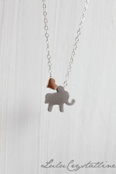 Elephant Necklace Heart Necklace Rose Gold by LuluCrystalline, $26.00