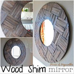 50 Fab DIY Mirror Frames You Can Easily Make Yourself - How to make a DIY shims mirror Huge Mirror, Wood Mirror, Diy Mirror, Sunburst Mirror, Mirror Ideas, Wall Mirrors, Diy Wand, Diy Wall Art, Wall Decor