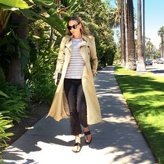 American costume designer and stylist Jacqui Getty wearing a Burberry trench coat in LA