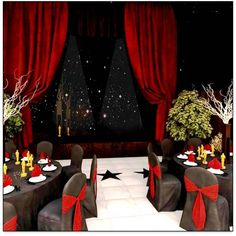 Black tablecloths and chair covers. Red napkins and chair bows. Fanned napkins sticking out of plastic flute glasses.