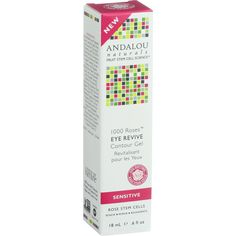 Andalou Naturals Eye Revive Contour Gel - 1000 Roses - .6 oz - For Delicate and Dry Skin Andalou Naturals Fruit Stem Cell Science renews skin at the cellular level, blending nature and knowledge for visible results. Petal-soft to protect delicate eye area, this soothing contour gel, with Alpine Rose Stem Cells, glides on smoothly to visibly reduce fine lines, puffiness, and under-eye circles. Pomegranate, rich in tannins and polyphenols, tones and tightens as moisture-binding humectants…