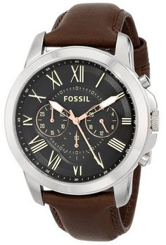 nice Men's FS4813 Grant Stainless Steel Watch with Brown Leather Band - For Sale Check more at http://shipperscentral.com/wp/product/mens-fs4813-grant-stainless-steel-watch-with-brown-leather-band-for-sale/