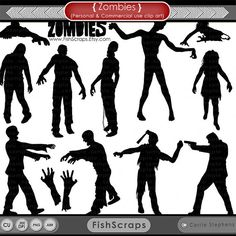 50% Sale - Zombie Silhouettes - Halloween Zombies - PNG Digital Stamps & Photoshop Brushes Included -  - Commercial Use
