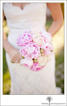 Kara's wedding bouquet, pink and white set against lace wedding dress at solage calistoga in napa valley