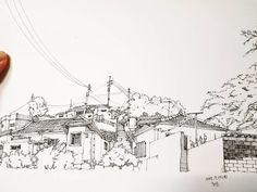 #그림저장#펜화#스케치#골목길#군산#취미생활#pendrawing#sketch#korea#gunsan#alleyway#小巷 군산 히로쓰가옥 뒷편으로 보이던 산동네
