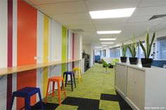 Leading Edge Communications redecoration of offices with a striped wall as a key element Lead Edge, Open Plan, Conference Room, How To Plan, Offices, Wall, Commercial, Key, Furniture