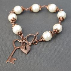 Beaded Bracelet, Skeleton Key and Padlock Charm Bracelet, Ivory Pearl Bracelet, Bridal Jewelry, Bridesmaid Gift, Christmas Gift for Her