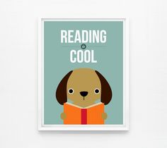 Reading is Cool, Children Decor, Playroom Art, Nursery Wall Art A4 by Loopz