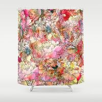 Shower Curtains featuring Summer Flowers | Colorful Watercolor Floral Pattern Abstract Sketch by Girly Trend
