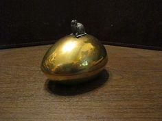 Vintage Brass Easter Egg Candy Dish - Trinket Box - Pewter Easter Bunny Lift    eBay
