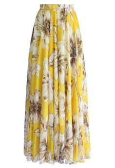 Marvelous Floral Maxi Skirt in Yellow - Maxi Skirt - Trend and Style - Retro, Indie and Unique Fashion